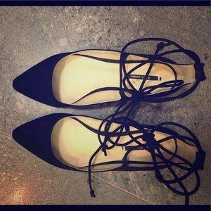 Black Zara wrap flats with glitter heel size 37